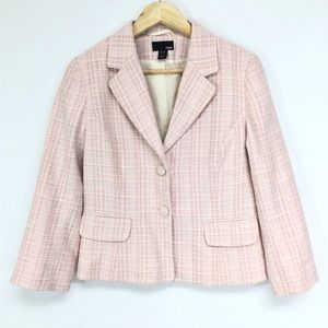 H&M Pink Tweed 3 Button Blazer Jacket